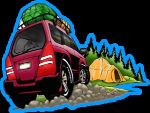 Drawing of Subaru camping!