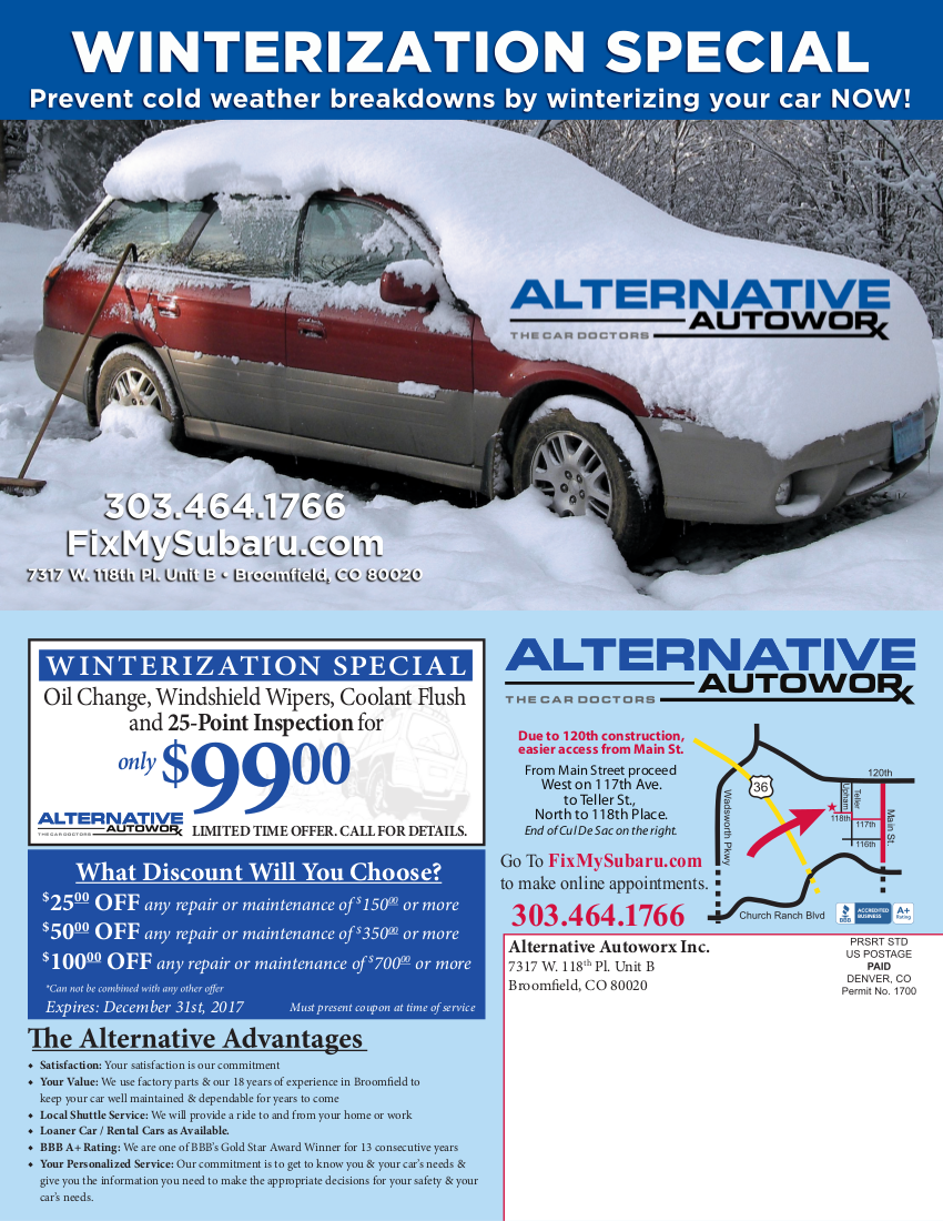 Alternative Autoworx - The Subaru Doctors - SPECIAL $99 Oil Change, Windshield Wipers, Coolant Flush and 25-Point Inspection for only