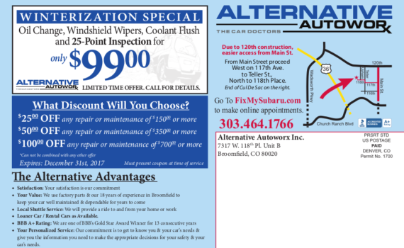 WINTERIZATION SPECIAL $99 Oil Change, Windshield Wipers, Coolant Flush and 25-Point Inspection for only